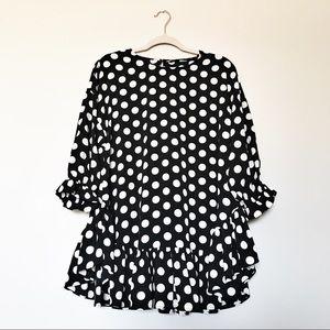 Zara Basic - Black & White Polka Dot Ruffle Tunic